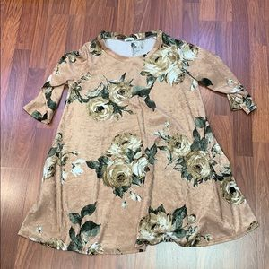 Egy Floral Swing Dress 3/4 Sleeve w/pockets